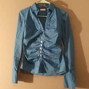 New York and Co. Women's blue stretch button up